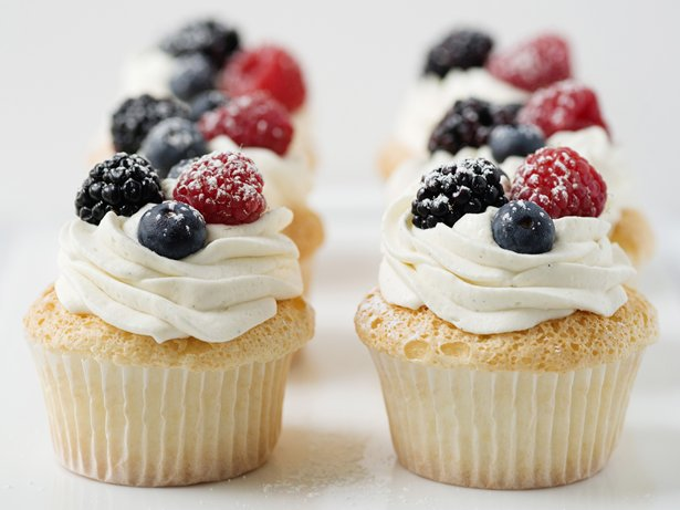 Angel Food Cupcakes with Berries