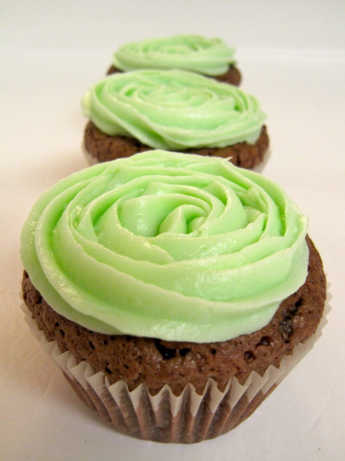 Brownie Cupcakes with Peppermint Cream Cheese Frosting