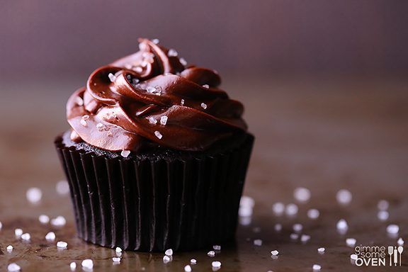 Salted Dark Chocolate Cupcakes