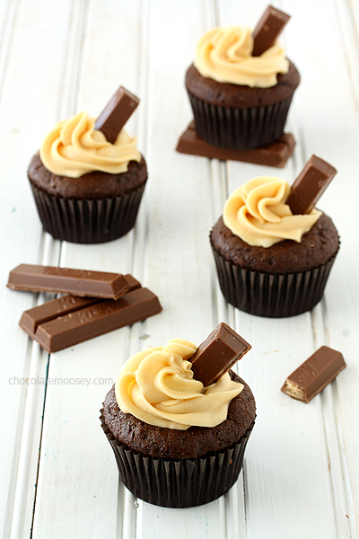 Kit Kat Cupcakes with Caramel Buttercream