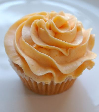 Peach Cupcakes with Peach Buttercream Frosting