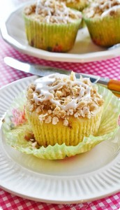 Glazed Strawberry Crumb Muffins