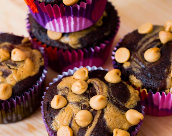 Light(er) Chocolate Peanut Butter Swirl Cupcakes