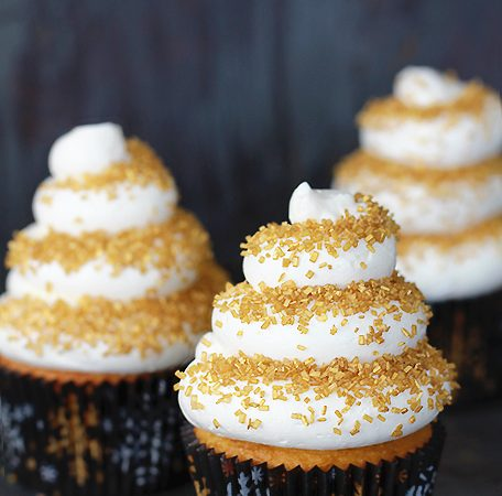 Eggnog Cupcakes with Spiced Rum Buttercream Frosting