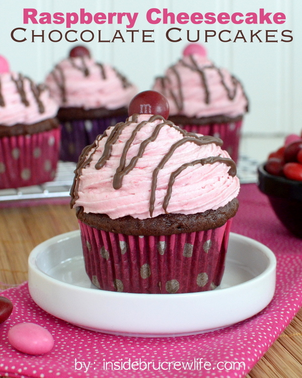 Raspberry Cream Cheese Chocolate Cupcakes