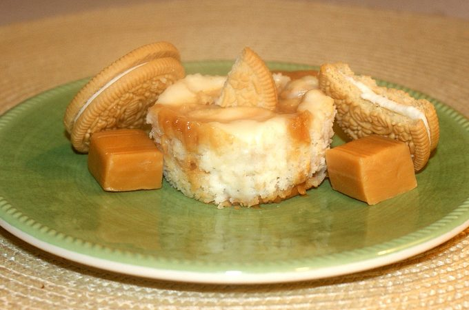 Golden Caramel Cheesecake Cupcakes