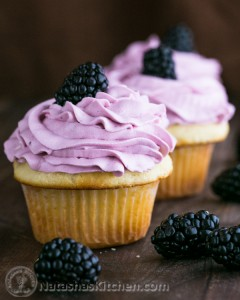 Greek Yogurt Cupcakes with Blackberry Frosting