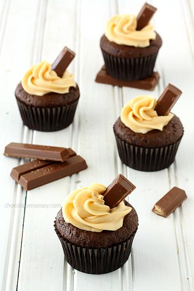 Kit Kat Cupcakes with Caramel Buttercream