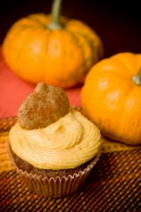 Pumpkin Cupcakes with Cheesecake Frosting