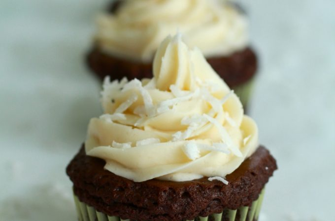 Chocolate Coconut Rum Cupcakes