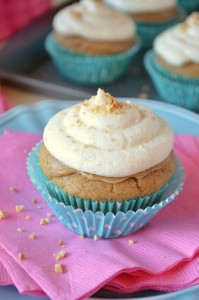 Peanut Butter Cupcakes with Banana Buttercream