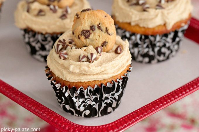 White Chocolate Cupcakes with Cookie Dough Frosting