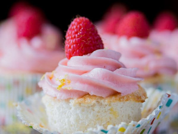 Lemon Angel Food Cupcakes with Raspberry Buttercream