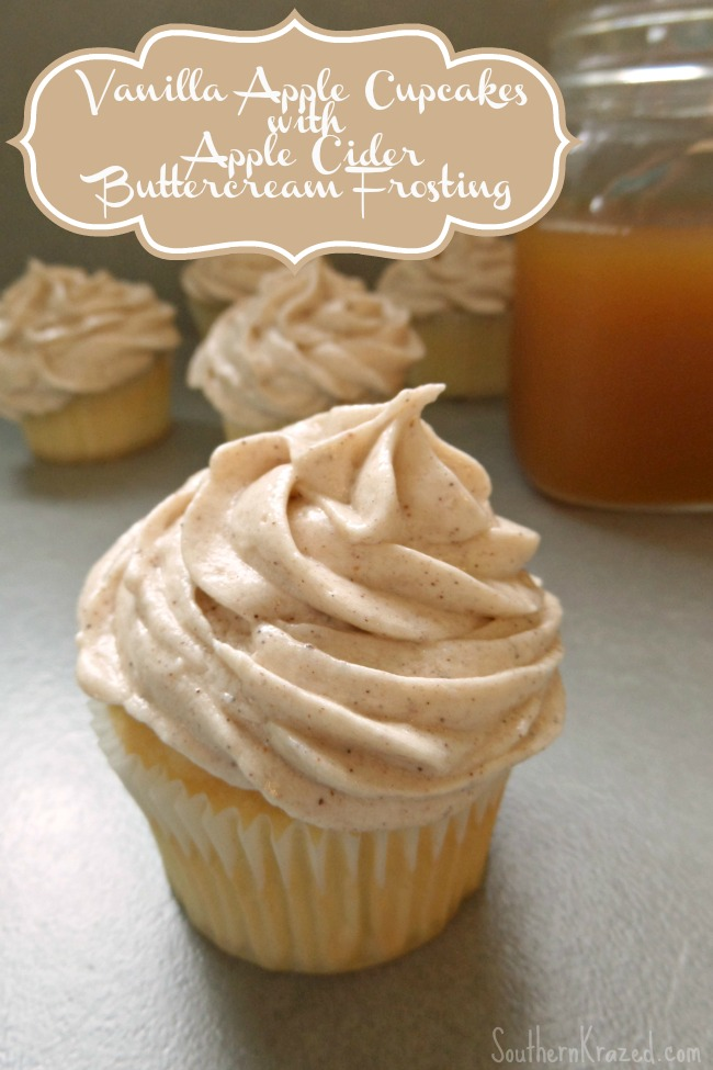 Vanilla Apple Cupcakes with Apple Cider Buttercream Frosting