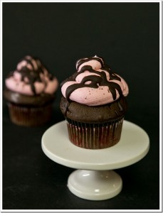 Devils Food Cupcakes with Roasted Strawberry Buttercream