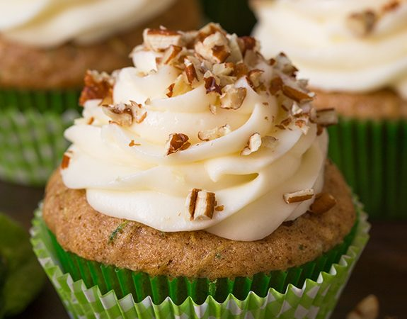 Spiced Zucchini Cupcakes with Cream Cheese Frosting
